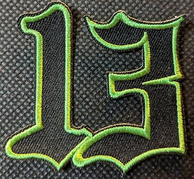 Number 13 Green on Black # 13 Patch Motorcycle Patch Biker Patch