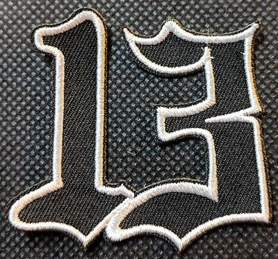 Number 13 White on Black # 13 Patch Motorcycle Patch Biker Patch Veteran Patch
