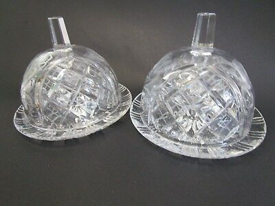 LEADED CRYSTAL LIDDED BUTTER DISHES sold as a PAIR