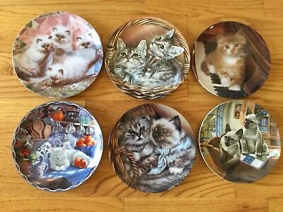 FREE SHIPPING - LOT of 6 Decorative Cat Plates - Collector Plates