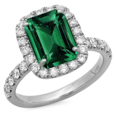 Certified 4.25cttw Emerald 0.80cttw Diamond 14KT White Gold Ring