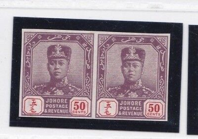 Malaya Johore 1910/19  Sg86 50  Cents Purple/red Imperf Plate Proofs Mnh Pairs