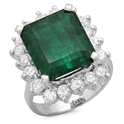 Certified 7.25cttw Emerald 1.05cttw Diamond 14KT White Gold Ring