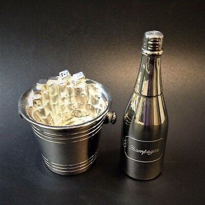 Silverplate Salt & Pepper Shakers - Champagne Bottle & Ice Bucket