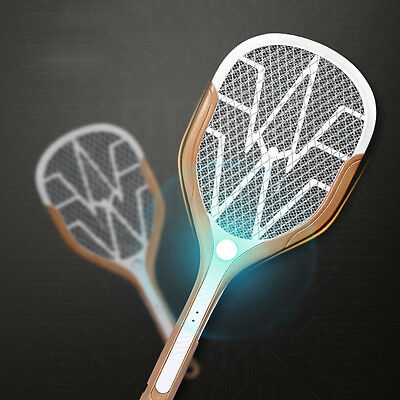 USB Recharge Mosquito Swatter Bug Insect Zapper HandHeld Racquet LED Light