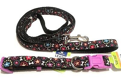 Dog Collar and Leash Set Top paw Medium Whimsical Adjustable Pet Black Red Green