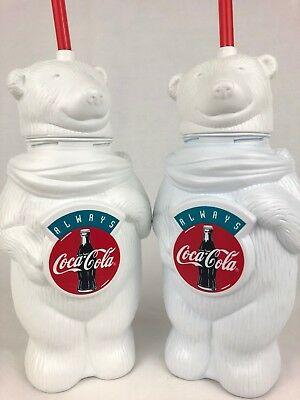 Coca Cola Polar Bear Collectible Plastic Drinking Cups with Straw and Plush Bear