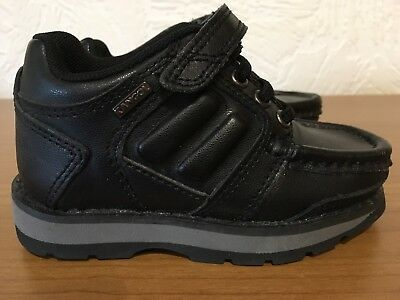 Baby Boys Kangol Black Leather Shoes Velcro Fastening Infant Size 5 Worn Once