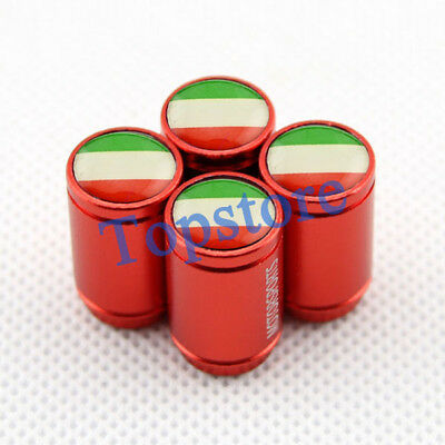 Red Styling Auto Accessories Italy Flag Wheel Tyre Tire Stem Valve Caps For Fiat