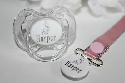 Personalised Dummy Avent *rabbit* Dummy And Dummy Clip *can Be Sterilised*avent