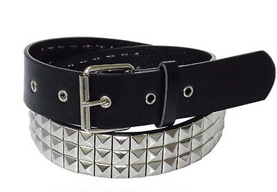 Budget Price Silver Stud 3 row STUDDED BELT Punk Goth Metal M/L Vegan BLACK NEW