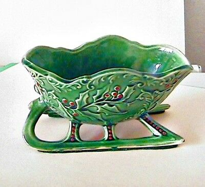 Vintage porcelain Christmas candy dish Sleigh, Japan
