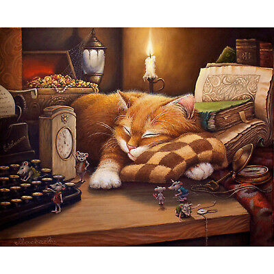 """CAT NAP IN CANDLE LIGHT PAINT BY NUMBERS CANVAS PAINTING KIT 20"""" x 16"""" FRAMELESS"""
