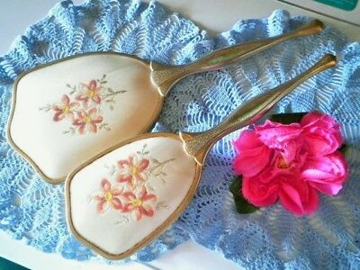 Vintage Vanity Set Petit Point Mirror Hairbrush Dressing Table Set Orange