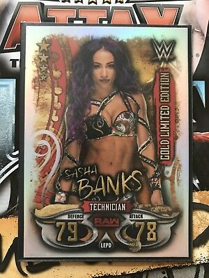 Topps WWE Slam Attax Live 2018 Gold Limited Edition Card - Sasha Banks LEPD