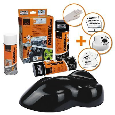 Peinture Jante Noir Brillant Kit Spray Elastique Plastifiant Foliatec Ft2304