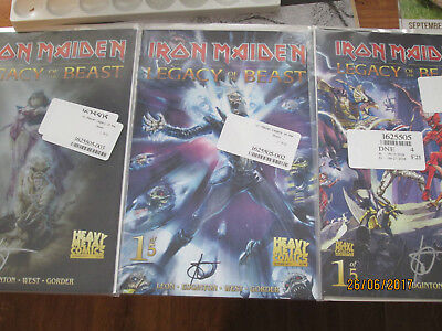 IRON MAIDEN Legacy Of The Beast number 1 set of 3 varients all signed
