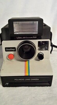 2 Polaroid SX-70 Land Cameras 1  White Rainbow with Flash and  1 one step flash