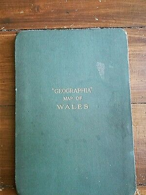c1920 old vintage Commercial & Political Map of  Wales by Geographia on cloth