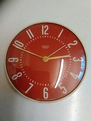 1960's Smiths 'Sectric' Electric Wall Clock with Red Dial - Slight Damage (1172)