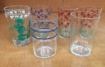 Lot of 6 Vintage Swanky Swig Glasses Flowers cat and bunny stripe