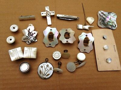 22 Pc Antique Mother Of Pearl Mixed Jewelry Lot,cufflinks,brooches,pins,buckles+