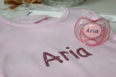 Personalised Dummy Avent Dummy And Bib *More Colours *Can Be Sterilised* 0-6 M