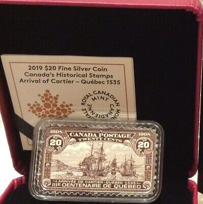2018 Arrival Cartier Quebec1535 $20 Silver Coin 1608-1908 20-cent Canada Stamp