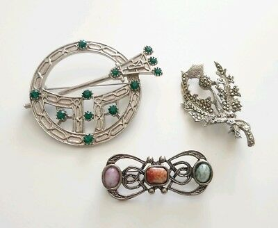 Vintage Costume Jewellery Scottish Brooches Lot Pebble Brooch Marcasite Thistle
