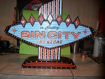 Sin City Lite Box LED Lighted Las Vegas Sign Man Cave Gambling