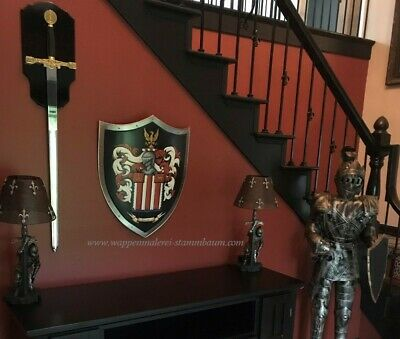 Medieval shield, Family Coat of Arms metal knight shield -  custom battle shield