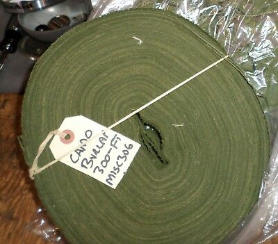 "One NOS 300 Foot Roll of WWII US Army OLIVE GREEN 2"" Burlap Scrim - MINT!"