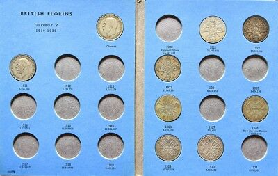 Florins, sixpences, threepence coins in collectors cases