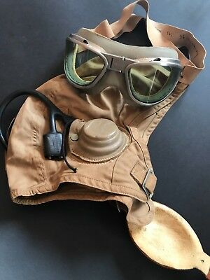 USN WW2 named M-450 flying helmet and AN-6530 goggles