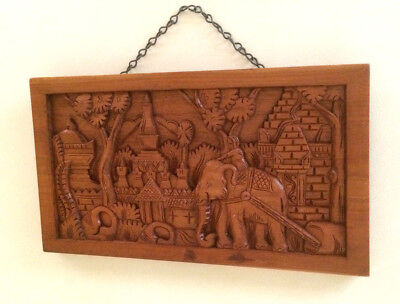 Vintage Hand Carved Wooden Elephant Wall Hanging