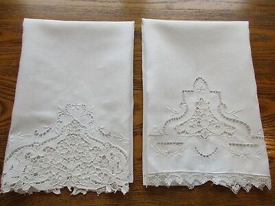 SET of 2 VINTAGE IVORY LINEN GUEST HAND TOWEL EMBROIDERY LACE DRAWN THREAD WORK
