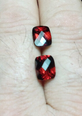Aaa  Natural Rhodolite Garnet Ct 5.59 Pair If Red Color Octagon Cheker Board Cut