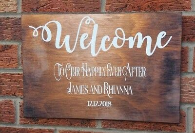 Rustic Welcome To Our Wedding Sign Personalised Large Wooden Shabby & Chic