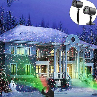 US Moving Snow Laser Projector Lamps Snowflake LED Stage Light Christmas Party M