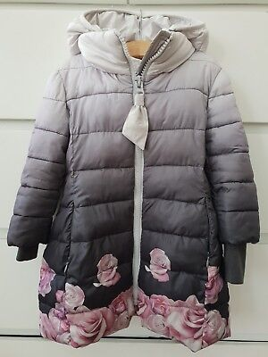 Monnalisa Girls Designer Grey Pink Floral Hooded Jacket coat Size 3
