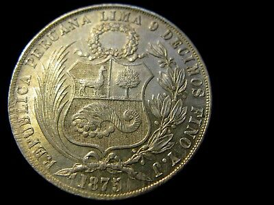 Peru 1875 Un Sol .900 Silver, Large Crown Lima Minted Crown Silver Coin.