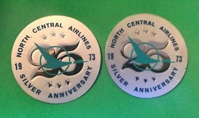 Lot of 2 Vintage North Central Airlines 25 Silver Anniversary Decal Sticker 1973