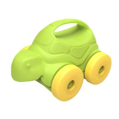 New Turtle On Wheels Green Yellow Friendly-Faced Push Toy Dishwasher Safe AU