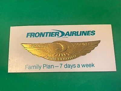 """Vtg Frontier Airlines Future Stewardess Gold Color Badge Sticker 5/8"""" x 2 1/4"""""""