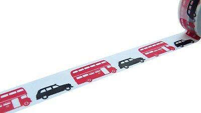 London Transport Red Bus & Black Taxi Washi Paper Tape 15mm x 10 Metre Roll