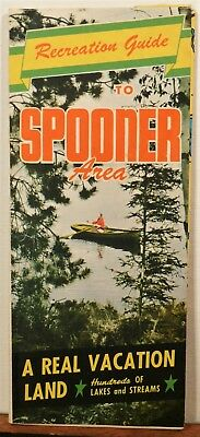 1948 Spooner Area Indian Head Country Wisconsin vintage travel brochure map b