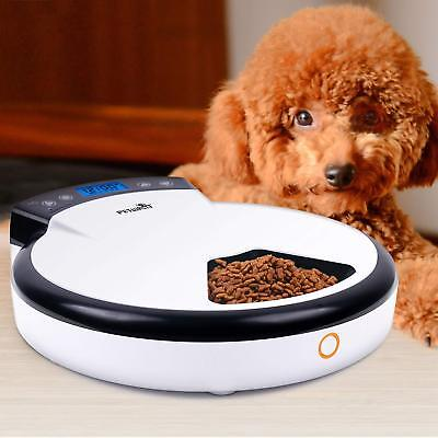 Automatic Pet Feeder for Dogs and Cats - Dry and Wet Food Dispenser 5 Meals.