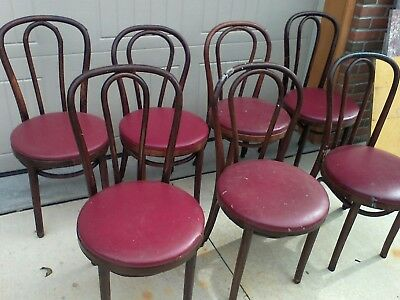 lot 7 antique 1910? bentwood chairs w/red seats Cafe Bar Kitchen Man Cave Table