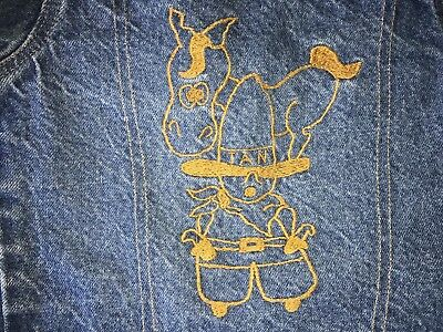 size 6 youth vintage Levis jean jacket 70's orange tab embroidered horse cowboy