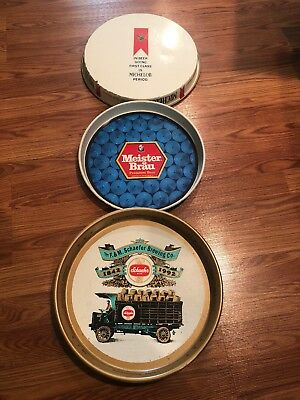 Lot Of 3 Beer Trays Michelob, Schaefer, Meister Brau Man Cave Pieces Alcohol